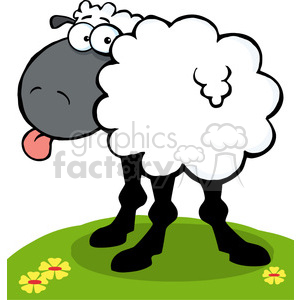 300x300 Royalty Free 102672 Cartoon Clipart Funky Black Sheep Sticking Out