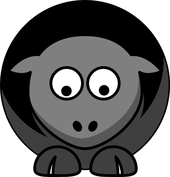 576x600 Sheep Black Grey Sad Clip Art