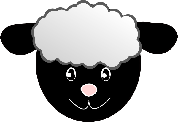 600x411 Black Happy Sheep Clip Art
