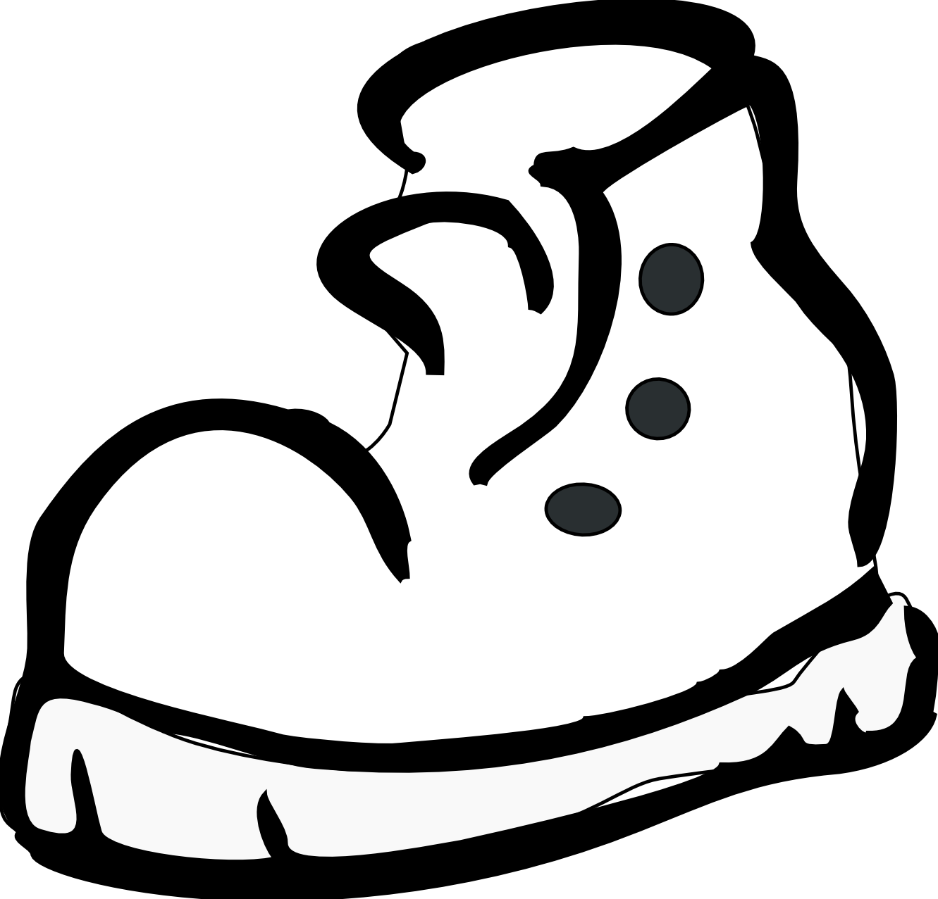 1331x1277 Tennis Shoes Clipart Black And White Free 5 4