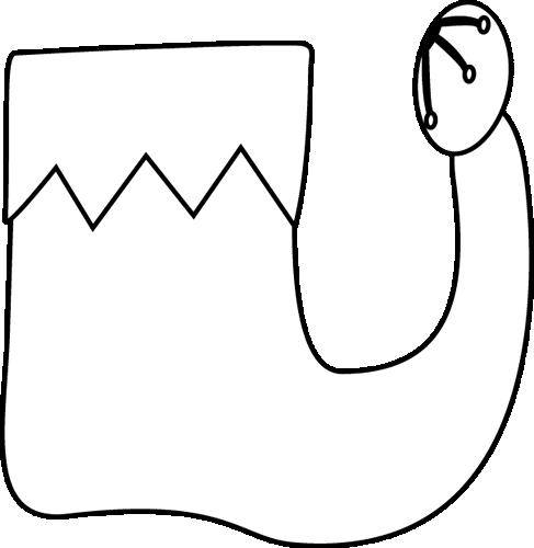 487x500 Black And White Single Elf Shoe Clip Art