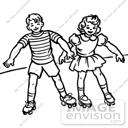 450x450 Clipart Of A Retro Boy And Girl Roller Skating In Black And White