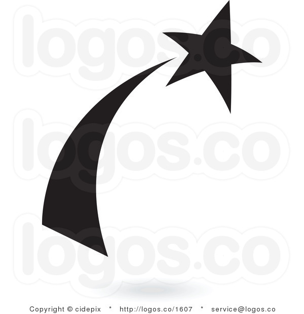 600x620 Shooting Star Black And White Clipart