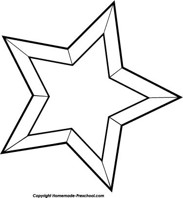 375x404 Black And White Star Clip Art