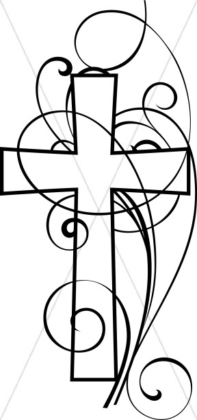288x612 Cross And Swirls Black And White Christian Clipart Cross Clipart