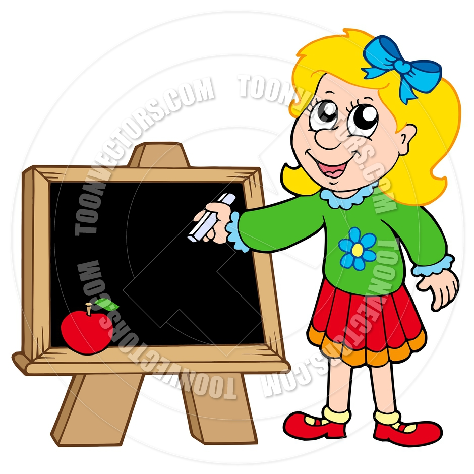 940x940 Cartoon School Girl Writing On Blackboard By Clairev Toon