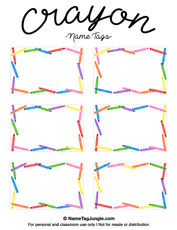 600x776 Free Printable Crayon Name Tags. The Template Can Also Be Used