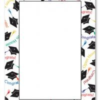 200x200 Graduation Hat Border Blank Card Invitation Graduation and