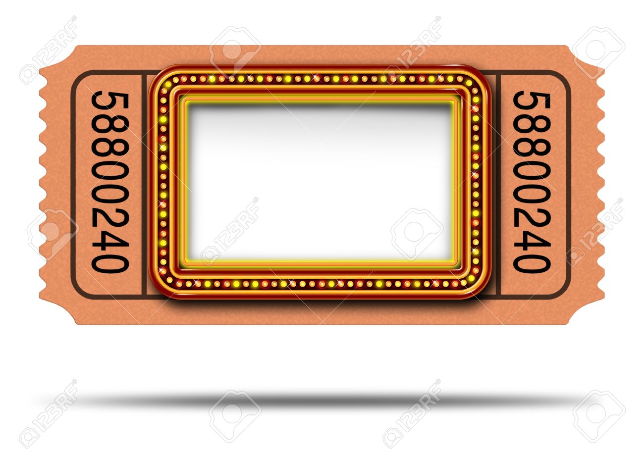 1300x919 Movie Marqueee Ticket With Blank Copy Space As A Hollywood Theater
