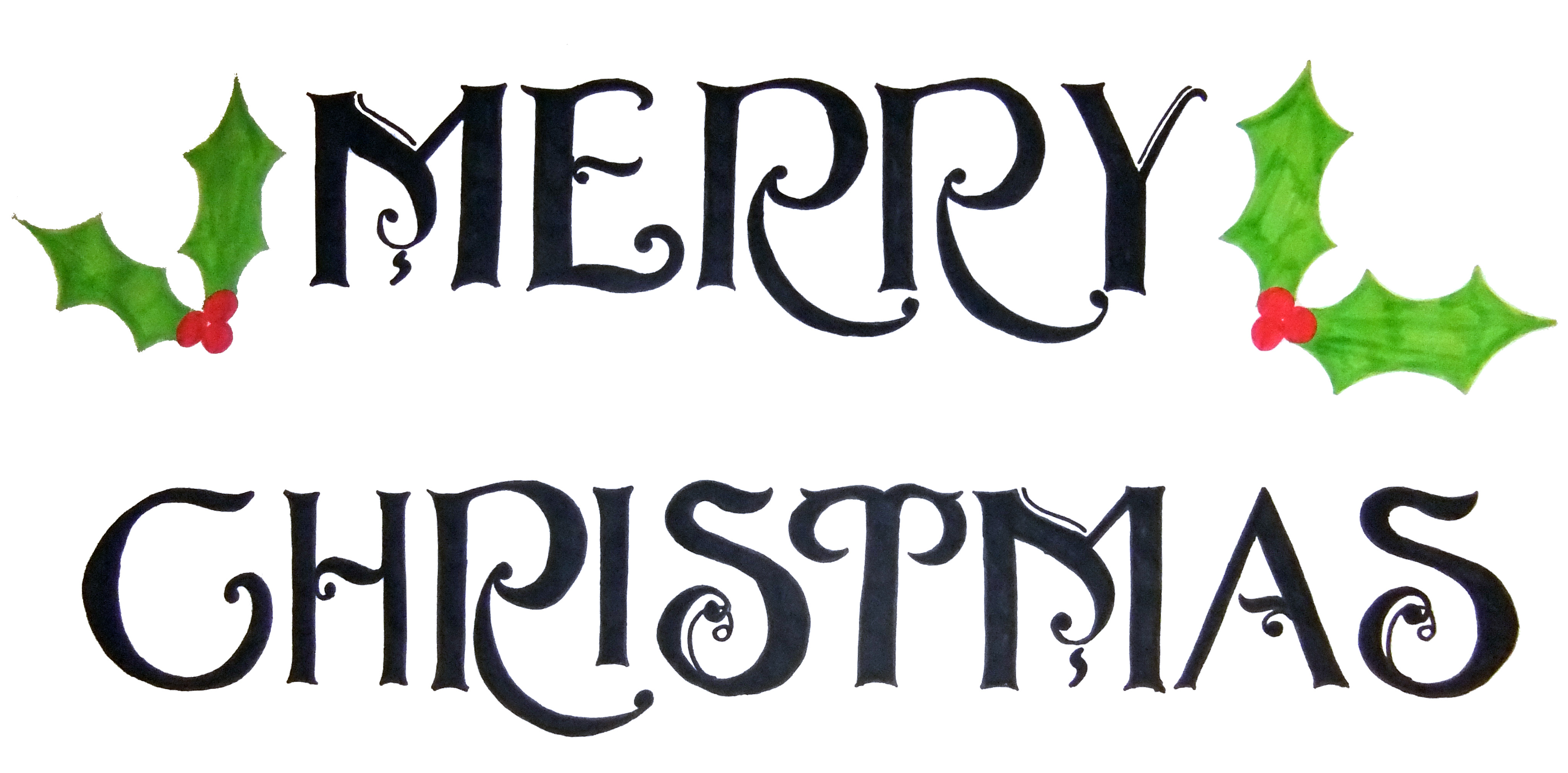 4100x2020 Merry Christmas Clipart Words