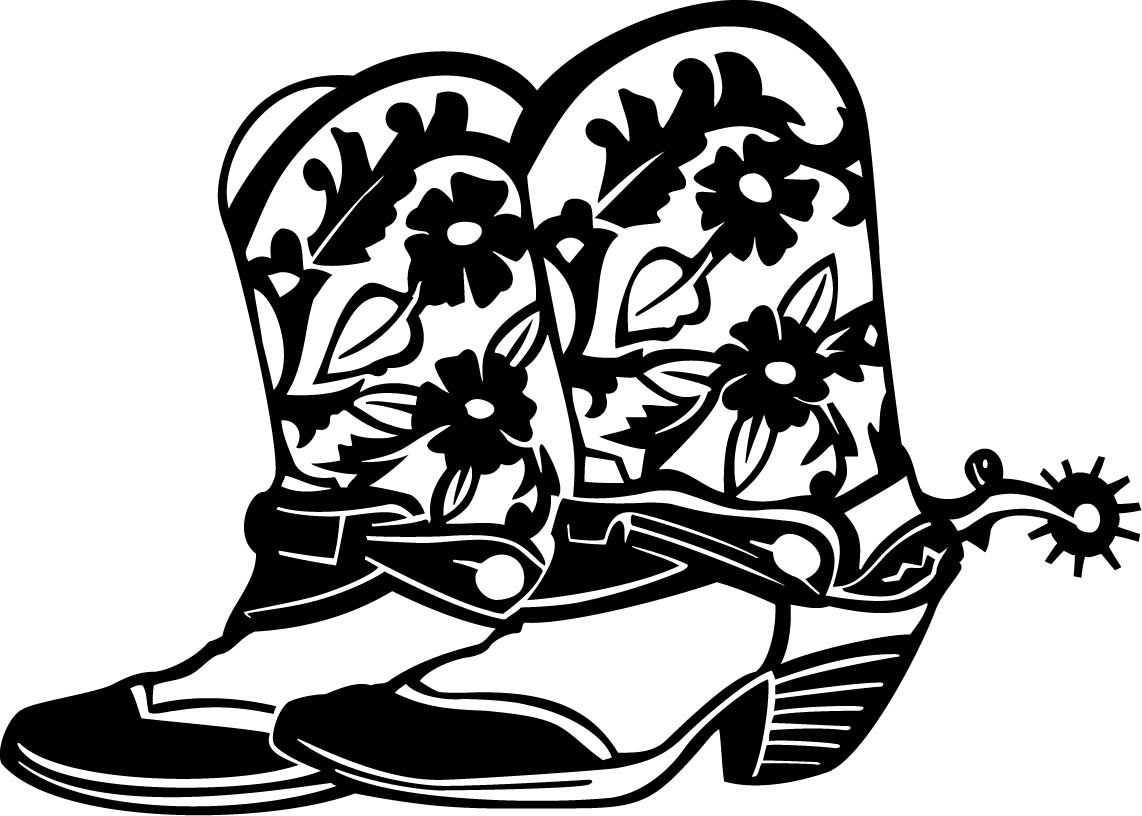 1142x816 Bling Western Boots Clipart