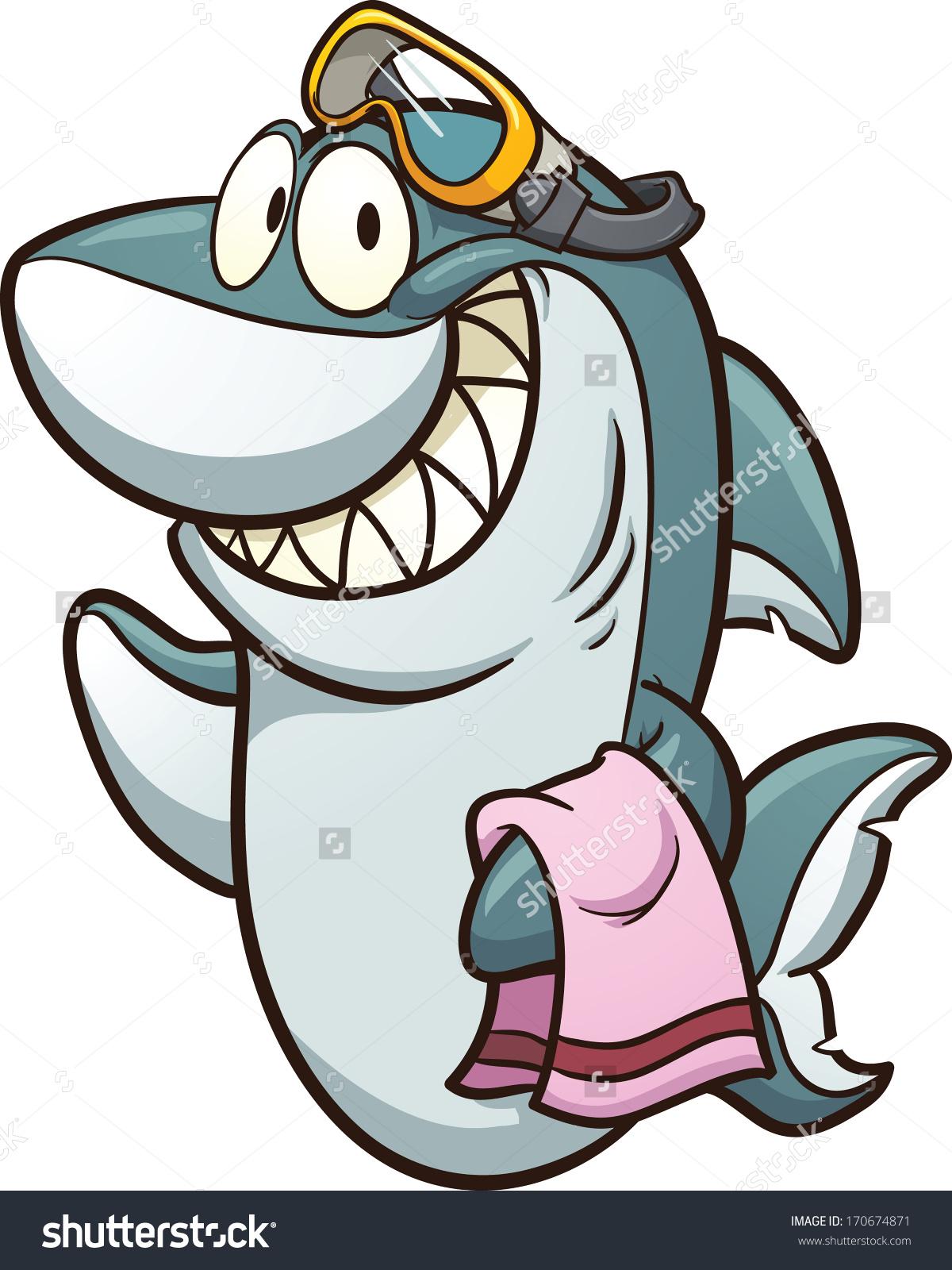 1200x1600 Cartoon Shark Wearing Goggles. Vector Clip Art Illustration