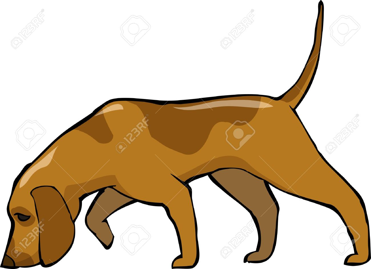 1300x943 Clipart Of Dog Sniffing The Ground
