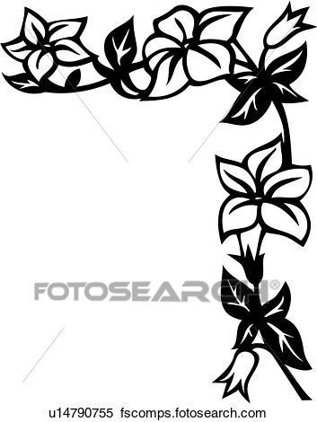 353x470 Clipart of , blossoms, border, corner, floral, vine, u14790755