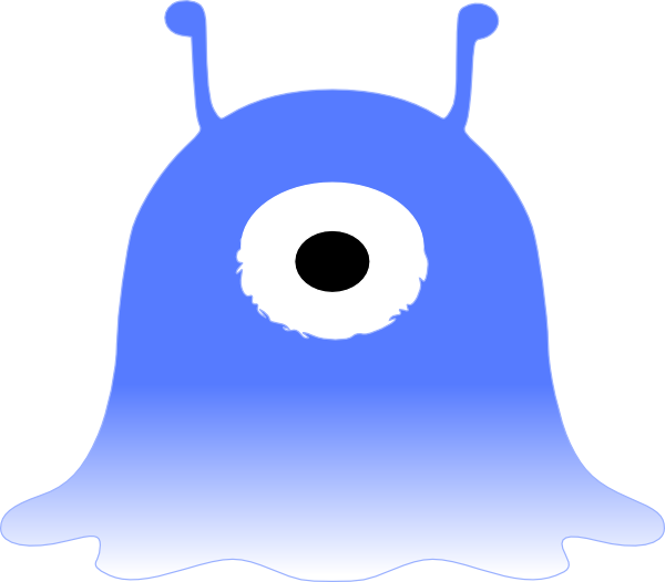 600x526 Blue One Eyed Monster Clip Art