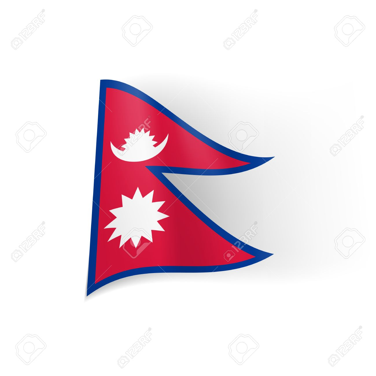 1300x1300 National Flag Of Nepal Blue Bordered Red Field With White Star