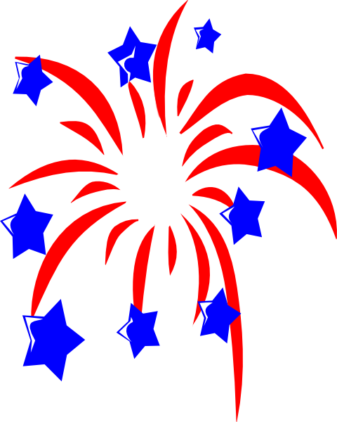 480x600 Red Fireworks With Blue Stars Clip Art
