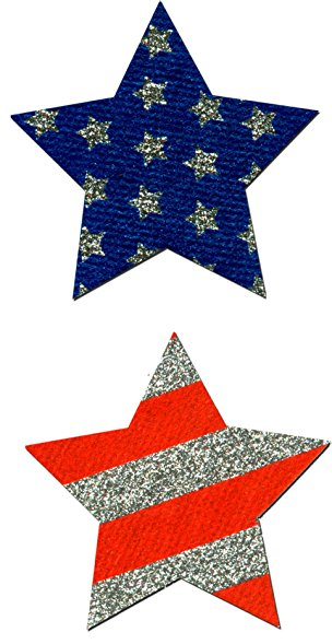 304x589 Red White And Blue Star Glitter Pasties Clothing