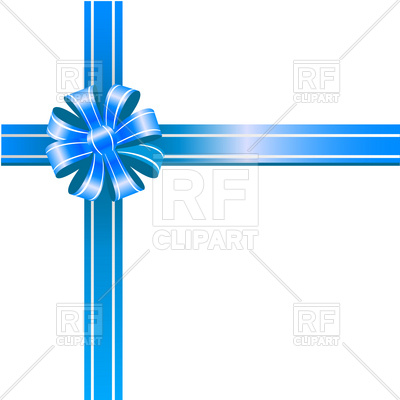 400x400 Blue Ribbon Bow On White Background Royalty Free Vector Clip Art