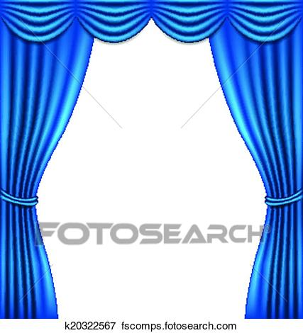 427x470 Clip Art Of Luxury Blue Curtain On White Background K20322567