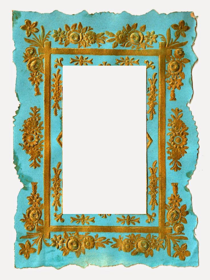 736x980 Digital Vintage Frame Clip Art Of Blue And Gold Background
