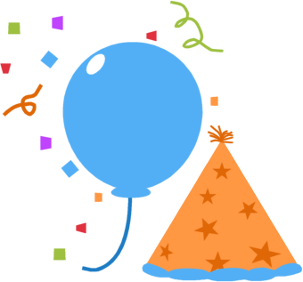 340x317 Party Balloon Hat And Confetti Clip Art