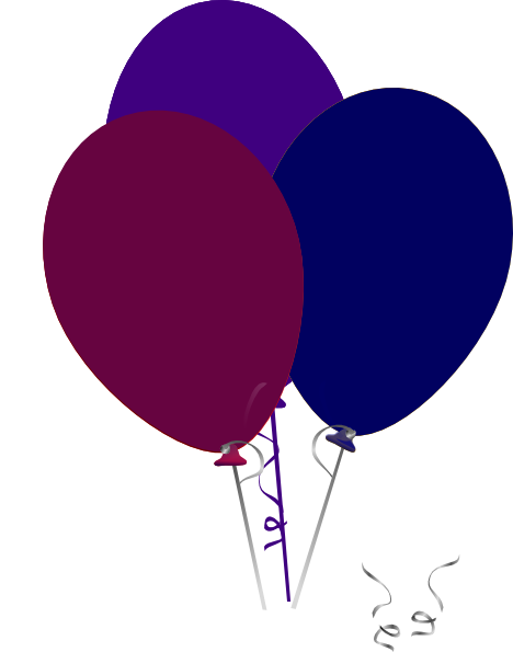 468x595 Purple And Blue Balloons Clip Art