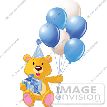 450x450 Royalty Free (Rf) Clip Art Of A Teddy Bear With A Gift, Party Hat