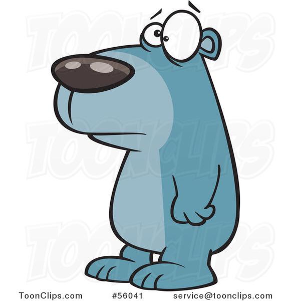 581x600 Cartoon Sad Blue Bear Facing Left