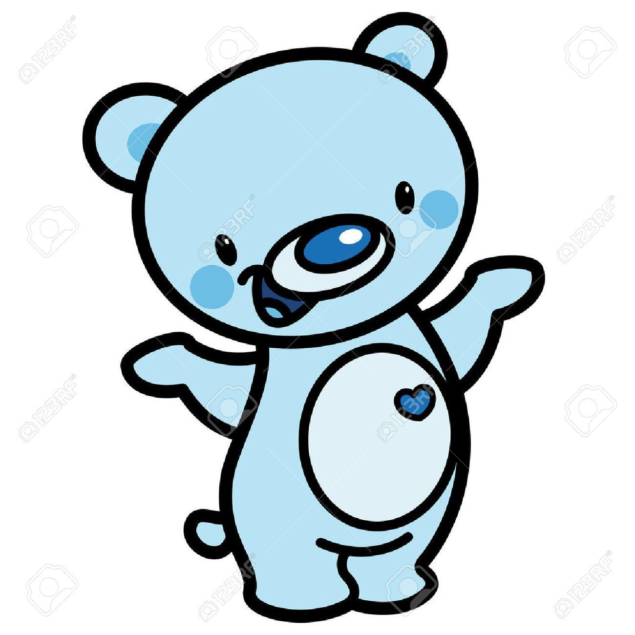 1300x1300 Cartoon Vector Cute Cyan Cheerful Adorable Teddy Bear With Heart