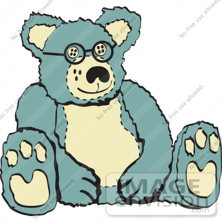 450x450 Royalty Free Cartoon Clip Art Of A Blue And Tan Stuffed Teddy Bear