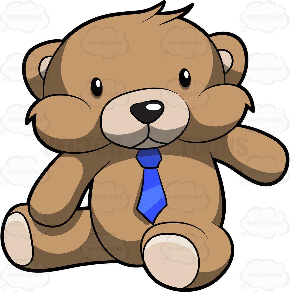 1018x1024 A Very Cute Brown Teddy Bear With A Blue Necktie Cartoon Clipart