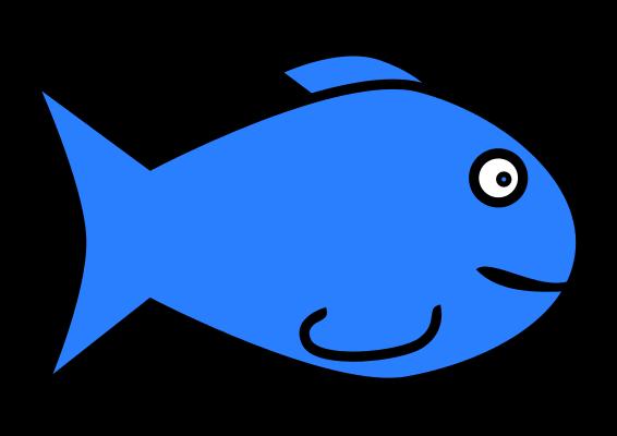 566x400 Free Simple Cartoon Blue Fish Clip Art