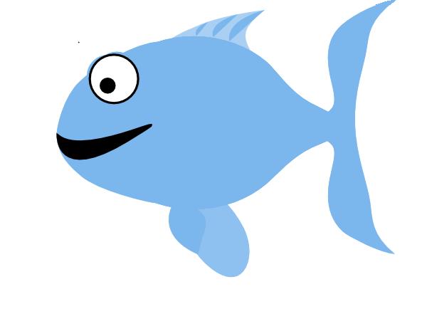 600x441 Light Blue Happy Fish Clip Art