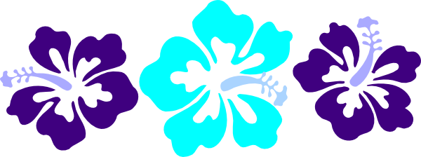 600x224 Blue Flower Clipart Hawaii Theme