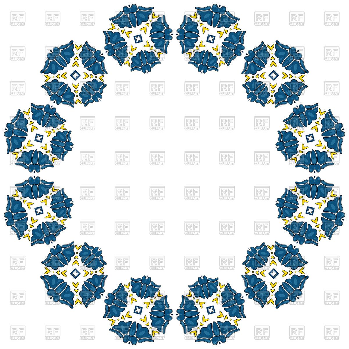 1200x1200 Decorative Circle Frame With Blue Flower, Mandala Border Royalty
