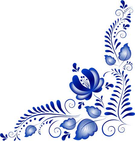 446x466 Blue Flower Ornaments Corner Vector Things To Do