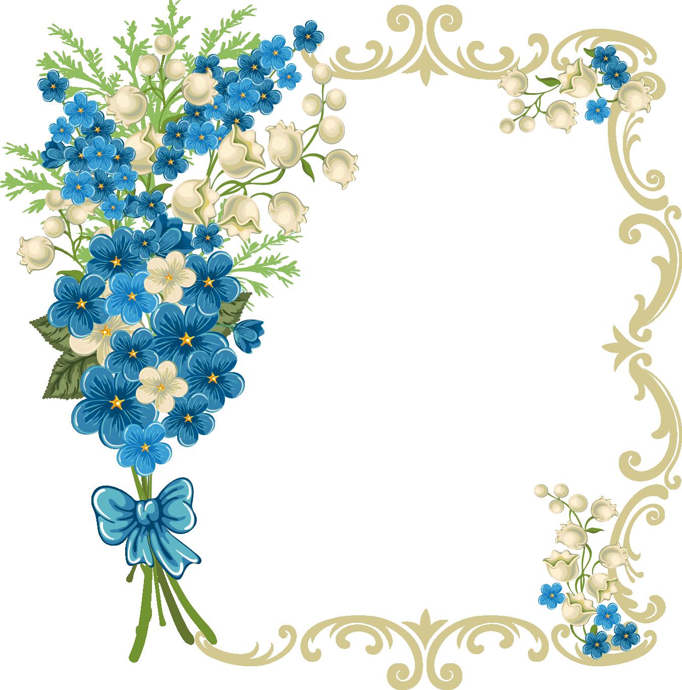 1351x1367 Blue Flower Clipart Frame