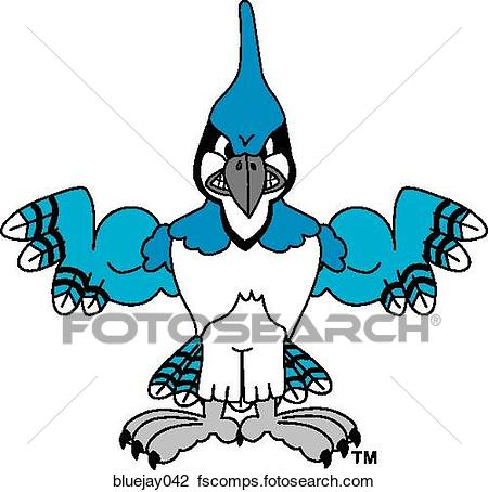450x454 Clip Art Of Blue Jay Flexing Muscles With Angry Face Bluejay042
