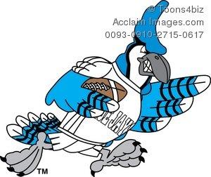300x252 Cartoon Blue Jay Playing Football