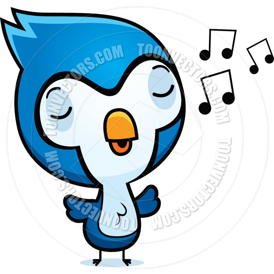 940x940 Cartoon Blue Jay Singing by Cory Thoman Toon Vectors EPS