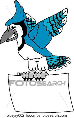 296x470 Clip Art of Blue Jay with Sign bluejay002