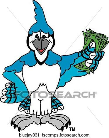 372x470 Clipart of Blue Jay holding Money bluejay031