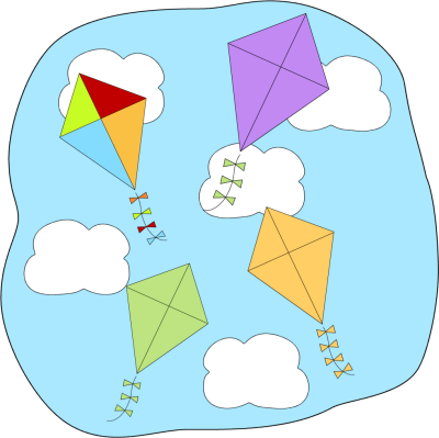 400x399 Kites Flying Clip Art