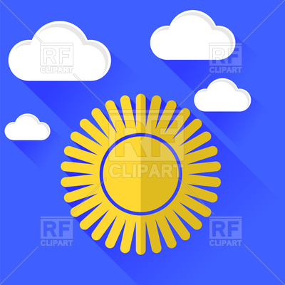 400x400 Sun Icon On Blue Sky Background Royalty Free Vector Clip Art Image