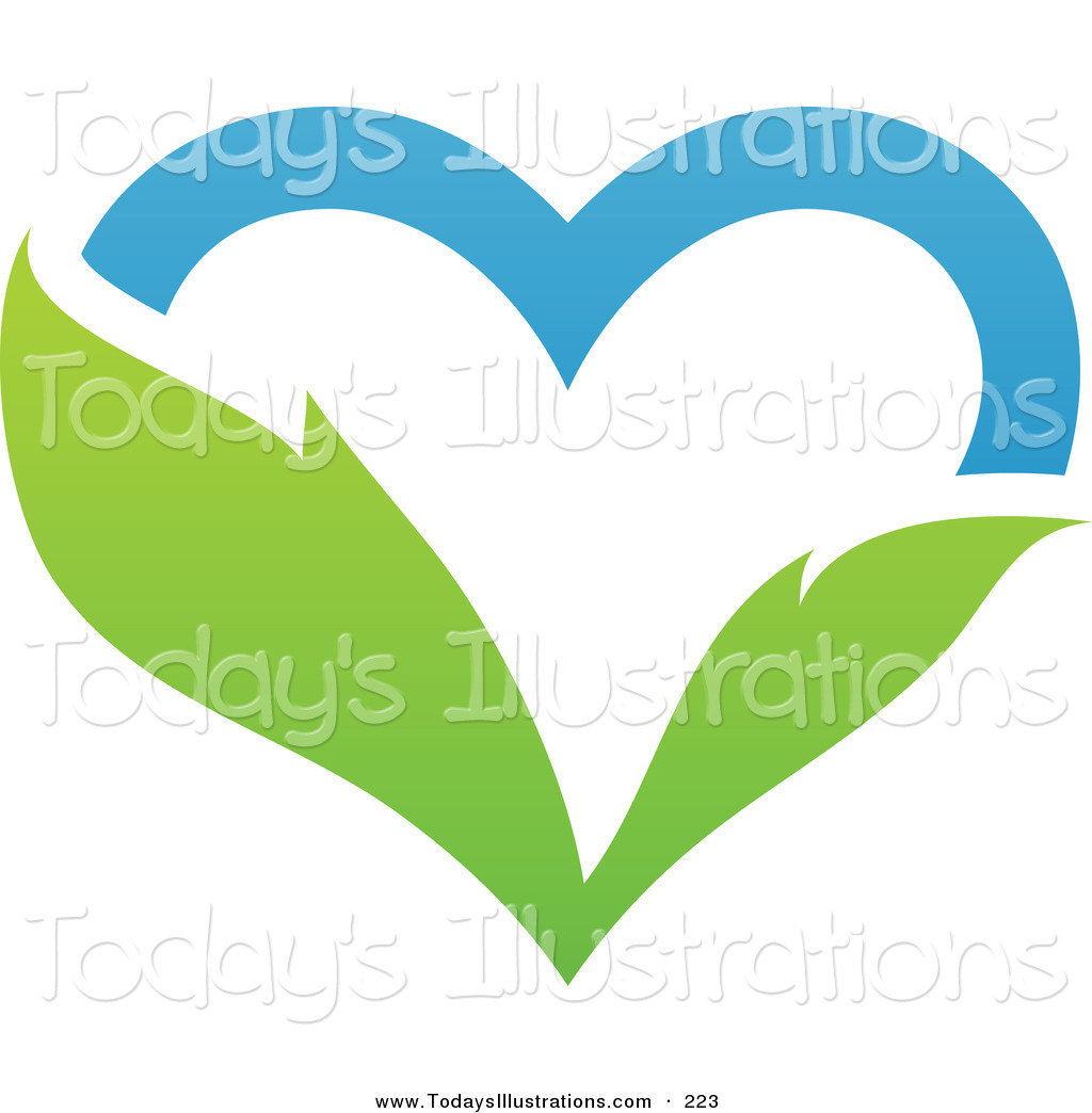 1024x1044 Clipart Of A Blue Sky And Green Leaf Heart Logo On White By Elena