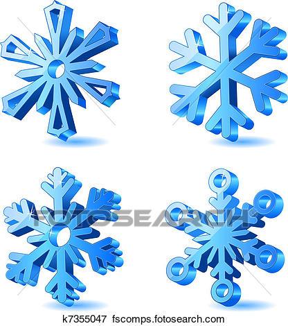 416x470 Clip Art Of Vector Christmas 3d Snowflake Icons K7355047