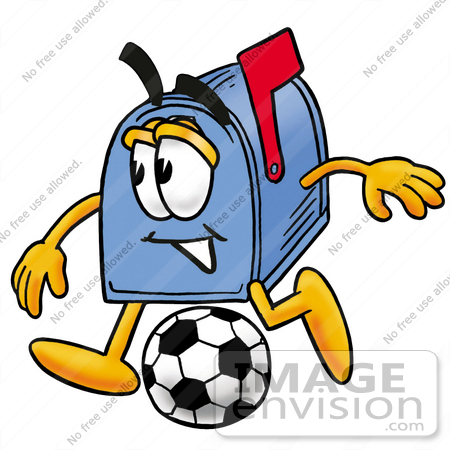 450x450 Clip Art Graphic Of A Blue Snail Mailbox Cartoon Character Kicking