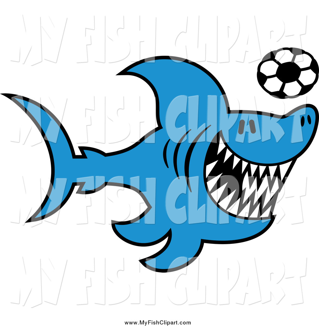 1024x1044 Clip Art Of A Blue Shark And Soccer Ball By Zooco