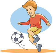 185x176 Girl Hitting Soccer Ball Clipart